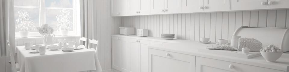 Weiße Küche als Panorama für Hintergrund