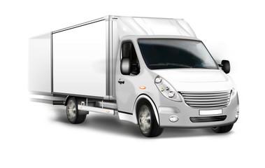Kleintransporter, Kastenwagen isoliert, freigestellt