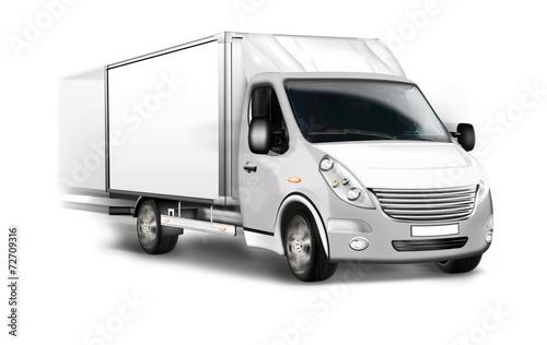 canvas print picture Kleintransporter, Kastenwagen isoliert, freigestellt