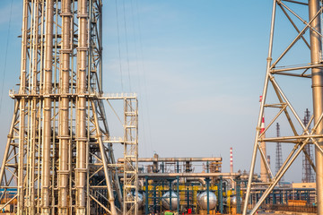 expansion of the petrochemical plant closeup