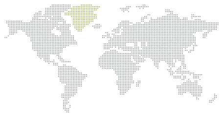 Dotted World Map - Green Land