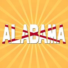 Alabama flag text with sunburst  illustration