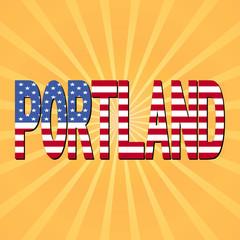 Portland flag text with sunburst illustration