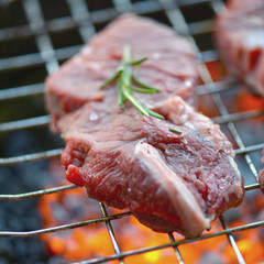 eef Steak on the BBQ Grill with flames.