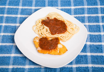 Chicken Parmesan on White Square Plate
