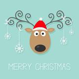 Сartoon deer horns red hat hanging snowflakeschristmas Flat