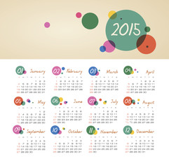 Calendar 2015 year with circles