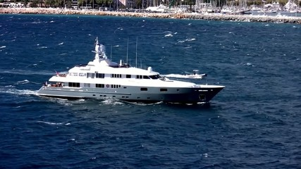 Luxury private yacht close to Cannes coast