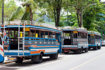 Local buses in Phuket Thailand