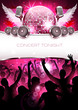 Festive and shiny party disco background with silhouette