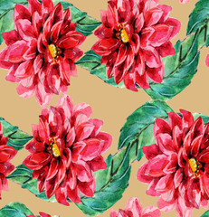 Red dahlia, floral pattern seamless