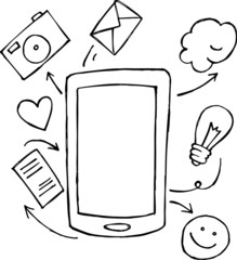 Hand drawing smart phone with social tools