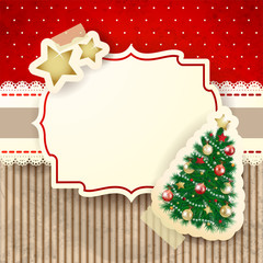 Christmas background with tree and label
