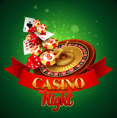 Casino background with cards, chips, craps and roulette.