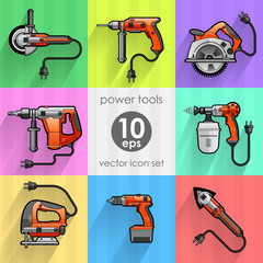 Power tools. Icons set