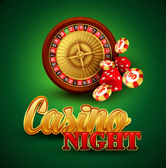Casino background with cards, chips, craps and roulette