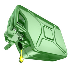 One last drop of fuel from jerrycan. Engine oil and green canist