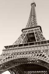Looking up on Eiffel Tower, the most popular landmark of Paris