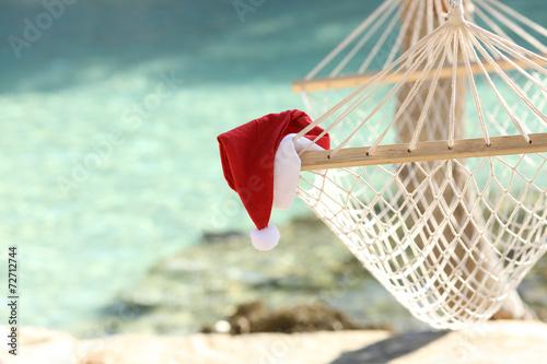 Hammock on a tropical beach resort in christmas holidays - 72712744