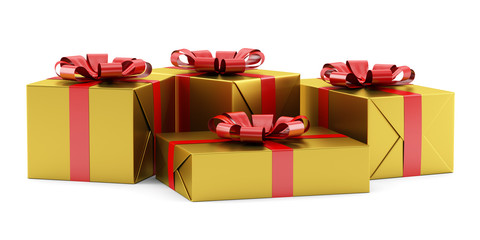 yellow gift boxes with red ribbons isolated on white background