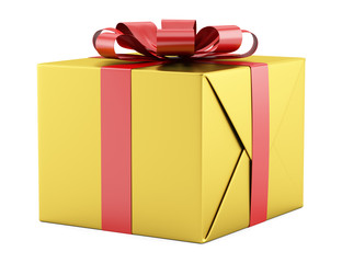 yellow gift box with red ribbon isolated on white background
