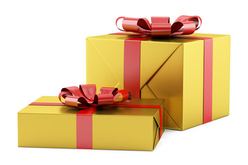 two yellow gift boxes with red ribbons isolated on white backgro