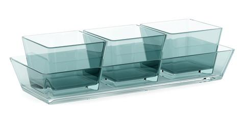 glass baking dishes isolated on white background