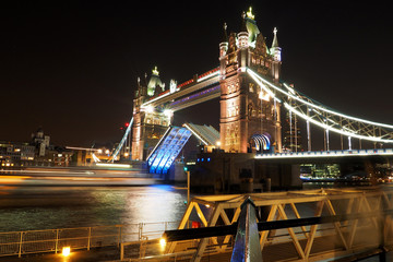 Close Tower Bridge at night.
