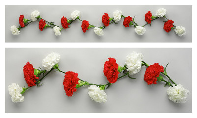 white and red carnations garlands