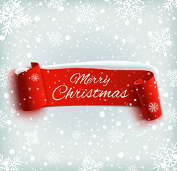 Merry Christmas celebration background with red realistic ribbon
