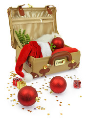 Travel suitcase with Christmas ornaments isolated on white