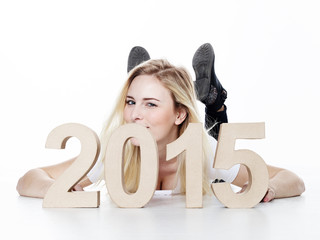 Woman presenting the New Year 2015