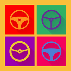 Car wheel icon in flat style