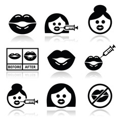 Big lips, lip augmentation icons - beauty concept