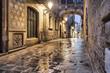 Leinwanddruck Bild - Narrow street in gothic quarter, Barcelona