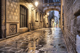 Narrow street in gothic quarter, Barcelona - 72715189