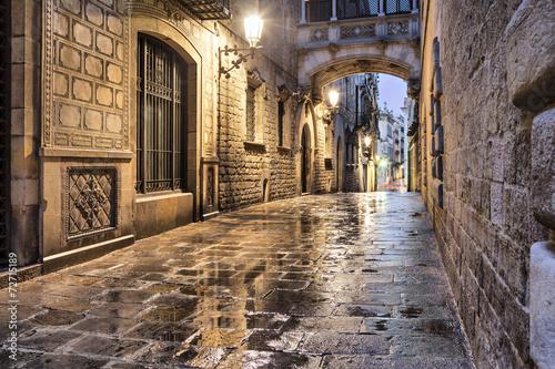 Poster Narrow street in gothic quarter, Barcelona