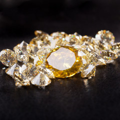 Natural Citrine stones on black bacground
