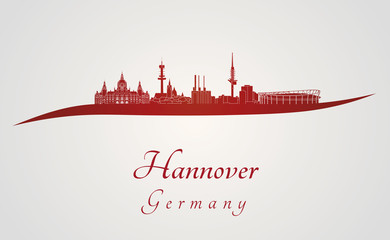 Hannover skyline in red