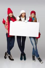 Winter women billboard sign.