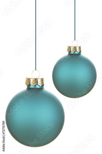canvas print picture Blaue Weihnachtskugeln
