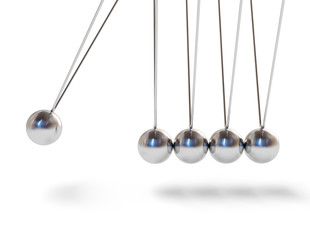 Action sequrence concept Newton's cradle executive