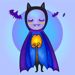 Cute cartoon bat. Halloween illustration