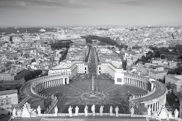 Vatican Saint Peter's Square - black and white monochrome style