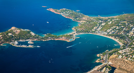 Greek Islands with bird's-eye view of the bay with yachts
