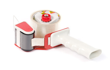 Adhesive tape holder with a red pen.