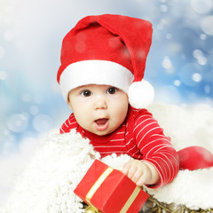 Christmas or Happy New Year infant and snowing background