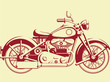 Silhouette of Old Motorcycle - Profile View - 72717174