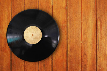 vinyl record in wood background
