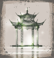 temple. Hand drawn sketch vector illustration